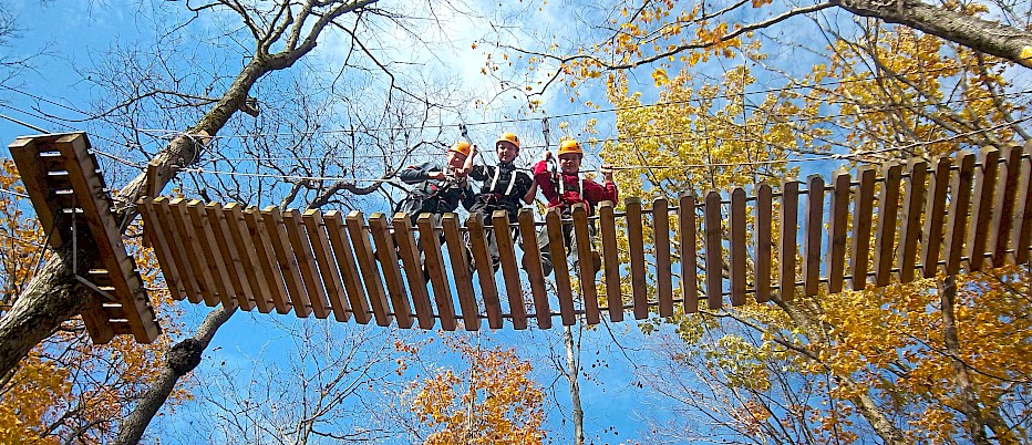 What better place to enjoy the fall foliage than in the Camp Muskoka Canopy Aerial Park! Students can build confidence and get their adrenaline pumping while climbing across monkey lines, traversing suspension bridges and soaring through the air on our 900 foot zip-line – the longest over water in Ontario.